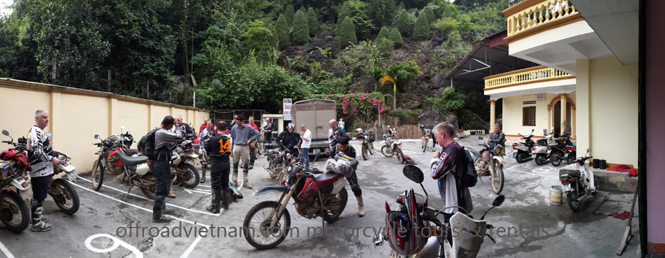 Hidden Vietnam Motorbike Tours - Add-on Services. Add-on Services For Vietnam Bike Tours, a large group with a support truck