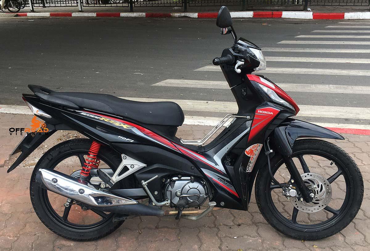 Hidden Vietnam Honda step-through moped scooter Wave RSX 110cc hire in Hanoi.